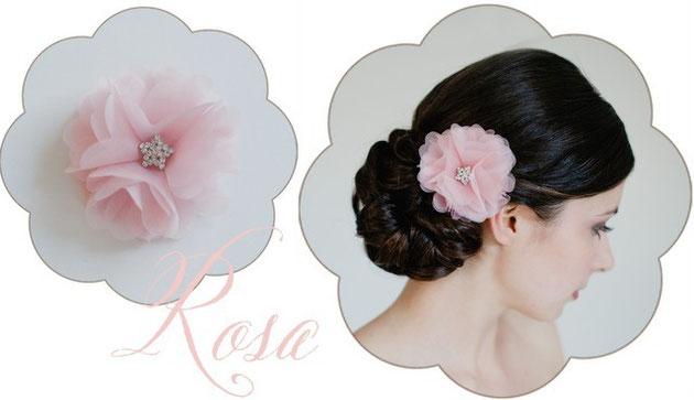 Haarblüte aus Seide. Haarschmuck in rosa für die Braut. Vintage Haarschmuck in rosa.