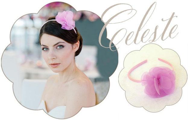 Haarreifen mit eiener Organza Blüte in rosa für die Braut.