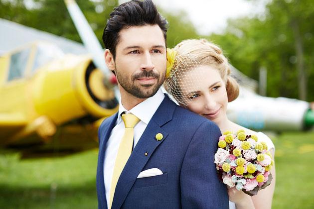 Fascinator Angel in Gelb und Ivory für die Braut.