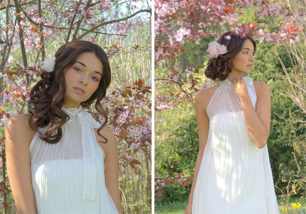 Blütengesteck in Pastelltönen wie rosa, apricot und ivory, bezaubernd aus filigranen Seidenorganza-Blütenblättern.