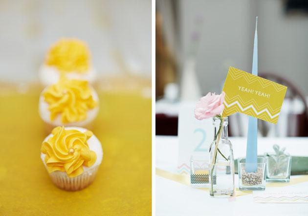Accessoires und Deko in Gelb für Frühling Sommer Hochzeiten
