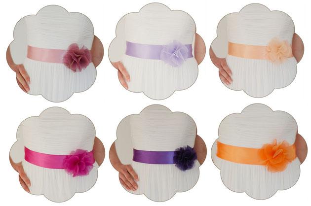 Brautgürtel in viele Farben - von Rosa und Apricot über spritziges Royalblau und Türkis bis hin zu erfrischendem Rot und Orange.