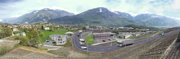Simulation avec route cantonale et zone industrielle