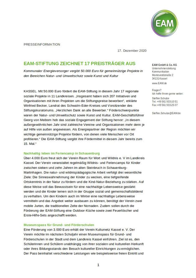 Preis EAM-Stiftung Raum für Wort & Wildnis e. V.
