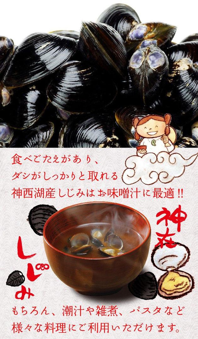 食べごたえがあり、ダシがしっかりと取れる神西湖産しじみはお味噌汁に最適! もちろん、潮汁や雑煮、パスタなど様々な料理にご利用いただけます。