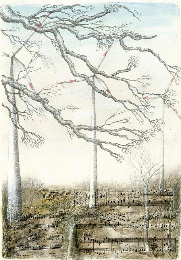 Kahle Baumäste vor Windrädern