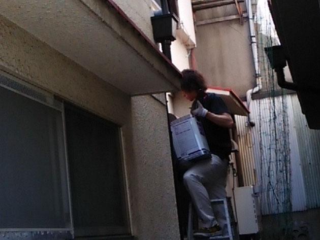 庇塗装 さび止め中