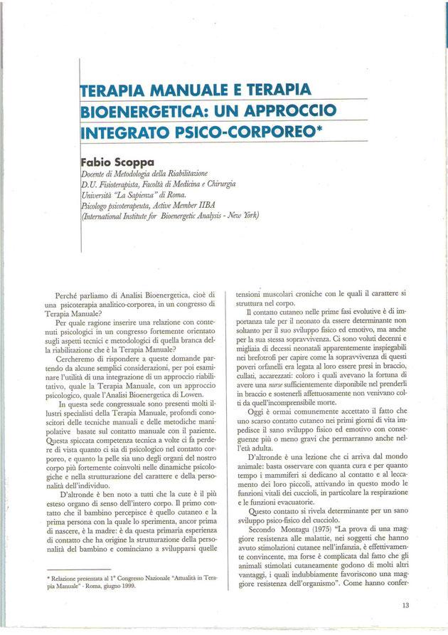 Articolo Terapia manuale e terapia biosistemica, relazione fra le tensioni muscolari e i tratti del carattere di una persona