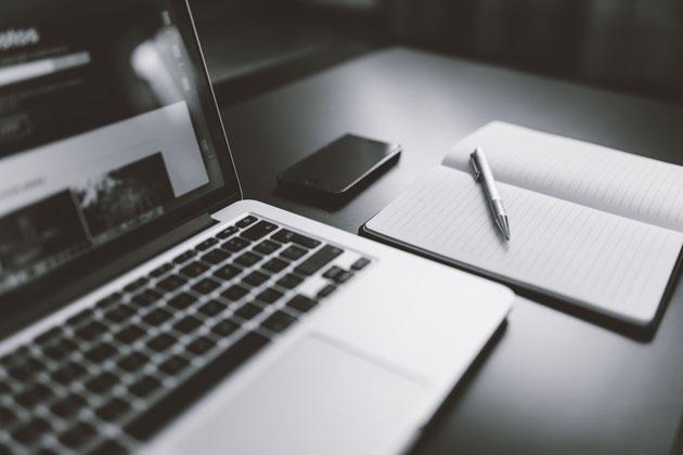 Notebook, Smartphone, Notizblock, Stift