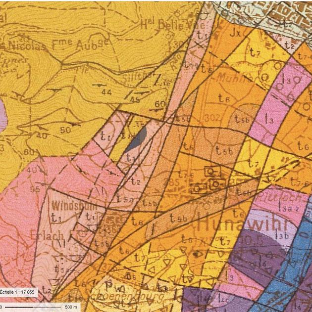 Le Grand Cru Rosacker à Hunawihr - Détail de la carte géologique de Colmar-Artolsheim ,  (1/50 000), BRGM.