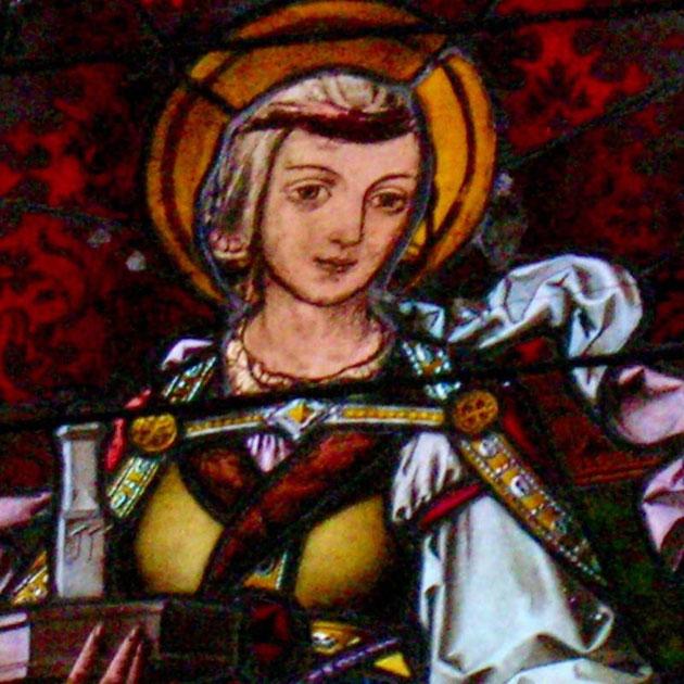 Détail du Vitrail central de l'Eglise de Hunawihr représentant Sainte Hune