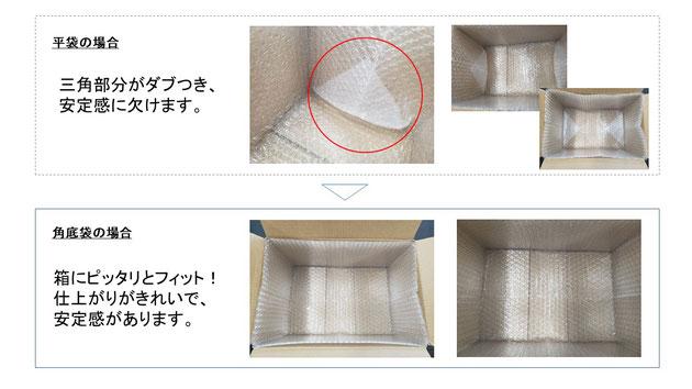 平袋と角底袋の比較。安定感と緩衝性能が上がっていることがわかります。