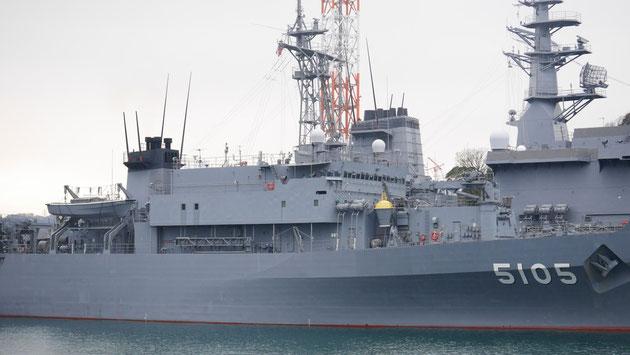 海洋観測船「にちなん」。潜水艦の活動のため、海洋地形や水流などの観測をミッションとしています。