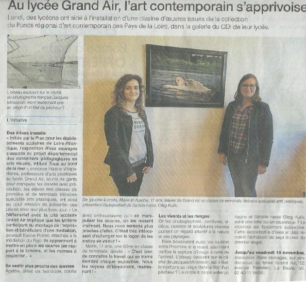"""10 novembre 2016, Exposition du FRAC des Pays de la Loire : """"Rives Sauvages"""", Ouest-France"""