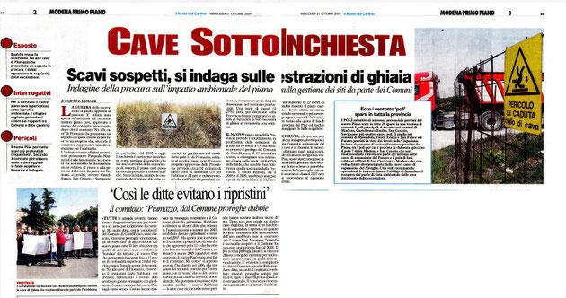 """MERCOLEDì 21 OTTOBRE 2009 SUL """"il resto del carlino"""""""