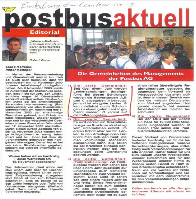 """Aus """"Postbus aktuell"""" Nr. 29/2003"""