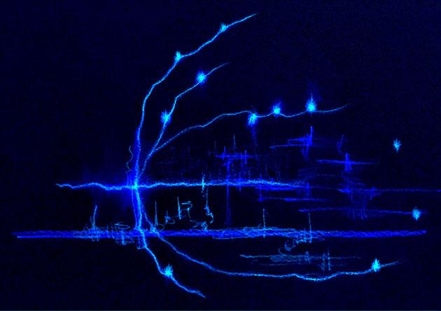 メテースのトップページに選んだ画像。ライトランゲージアート by 青木せい子 (紺色背景に水色の光の軌跡)