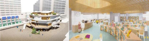 新垂水図書館 (外観イメージ)                       新垂水図書館 (内観イメージ)