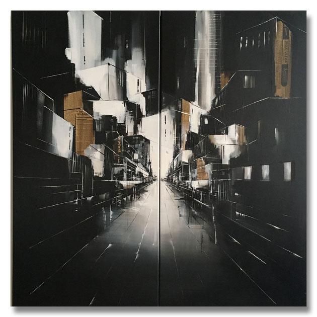 """Stadtlandschaft"" - Mischtechnik auf Leinwand - 2x50x100"
