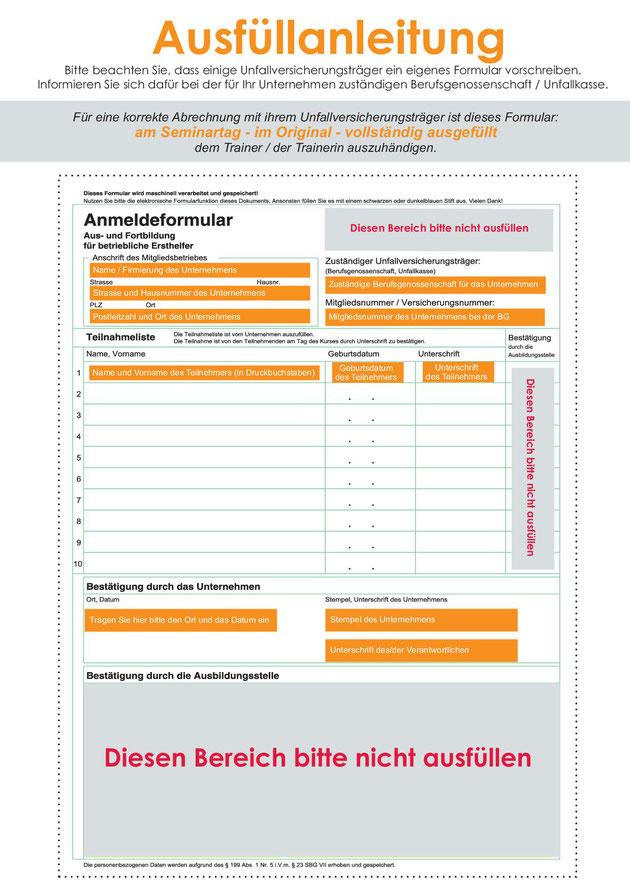 Ausfüllanleitung BG Formular zur Abrechnung der Erste Hilfe Lehrgangsgebühren