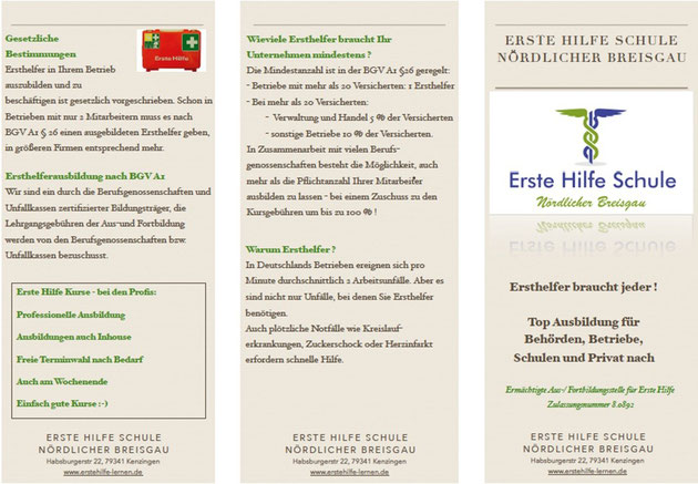 Flyer Seite Seite 1  Erste Hilfe Schule Nördlicher Breisgau
