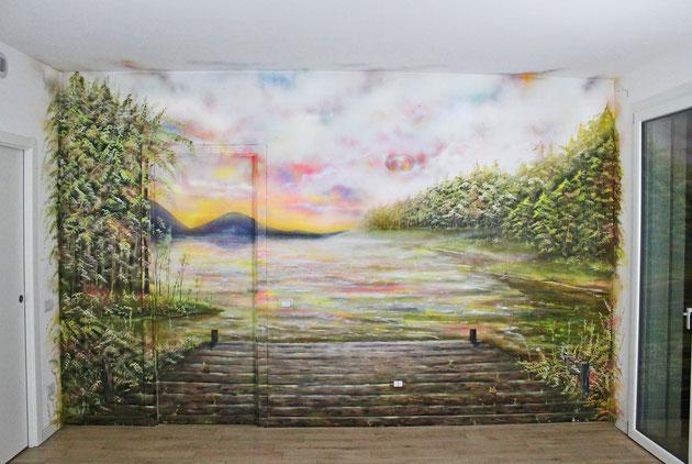 Lainate (MI) - spray e acrilico su muro