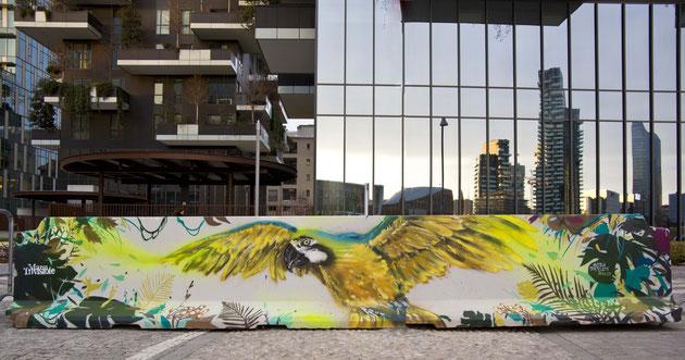 Berto191 & Manu Invisible - Bosco verticale, Milano - spray su cemento