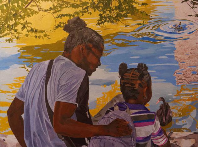 Jardin d'Eden X, acrylique sur toile, 130 x 97 cm, travail en cours