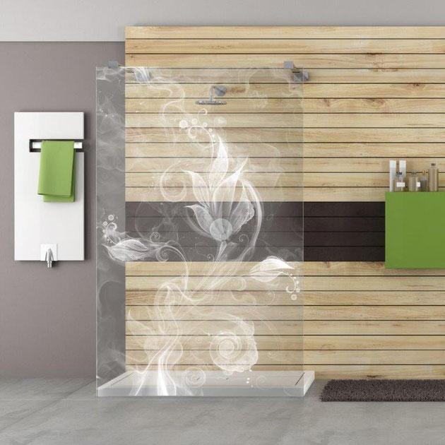 "Laserglas LED Duschtrennwand Motiv ""Strandfeeling"""