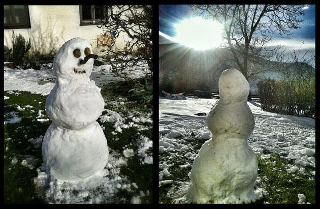 Max hat uns schon einen Schneemann gebaut - wir freuen uns auf unseren Weihnachtsurlaub in Österreich!