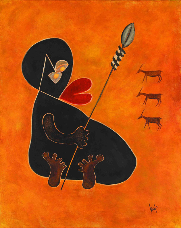 The old man with his spear, MAJO 2004, acrylic on canvas