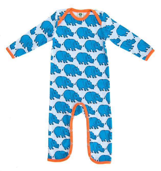 Smafolk Strampler Overall Hippos Hellblau