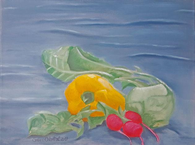 Stillleben, Gemälde, Malerei, Bild, Ölbild,  Gemüse,  Radischen , Paprika, Kohlrabi, Tischdecke, Sabine Odenthal, Leinwand, Canvas, Ölfarben, Gelb, Rot, Blau, Grün