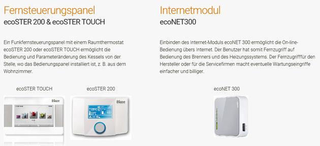 Fernsteuerungspanel ecoSTER und ecoSTER Touch, Internetmodul ecoNET 300
