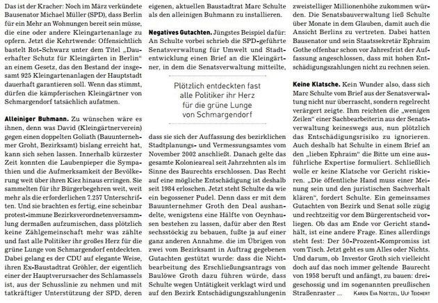 Mit Dank an Verlag BVZ Anzeigenzeitungen GmbH und die Autoren Karen Eva Noetzel und Ulf Teichert