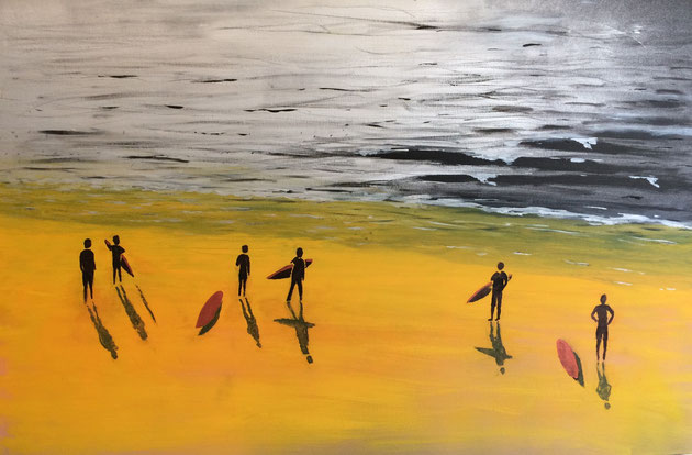"""Early Surf"" 91cm x 61cm MultiMedia on canvas $450 (excluding freight)"