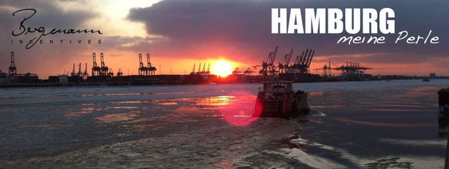 Hamburger Hafen im Abendrot