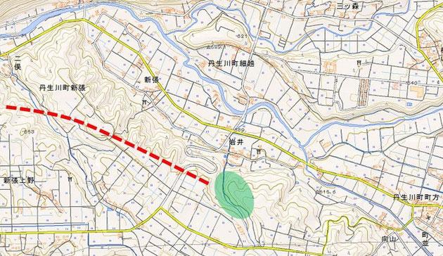 図2 中部縦貫道の計画線と新張のギフチョウポイント