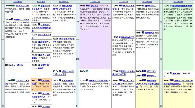 2007年8月15日のテレビ番組