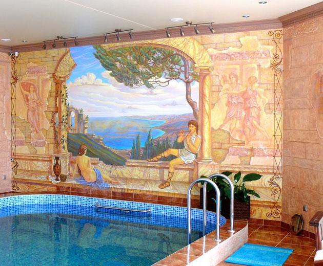 Декоративное оформление интерьера бассейна - этапы работы.