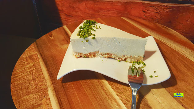 Backrezept-Bild eines besonders fruchtigen, selbstgemachten Zitrus-Cheesecake, der auch in der schnellen Version extrem lecker wird nach einem Rezept aus Dinkel-Dreams 2 von K.D. Michaelis