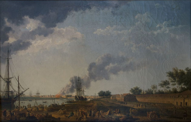 Document 4_ Le port de Rochefort en 1762 par le peintre Joseph Vernet, musée de Rochefort, la corderie royale apparaît à droite.