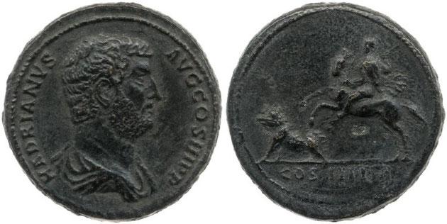 Münze 117-138 n.Chr., Vorderseite Büste Hadrians, Rückseite: Hadrian erlegt vom Pferd aus ein Wildschwein mit einem Speer