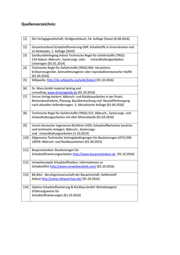 Quellenverzeichnis - Optima- Schadstoffsanierung und Rückbau GmbH