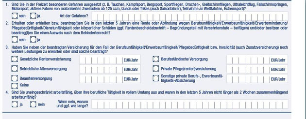 Die Gesundheitsfragen im Antrag der Basler-Aktion Tarif Beruf + Pflege Aktiv (zum Vergrößern bitte auf das Bild klicken)