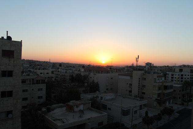 Sonnenuntergang in Amman.