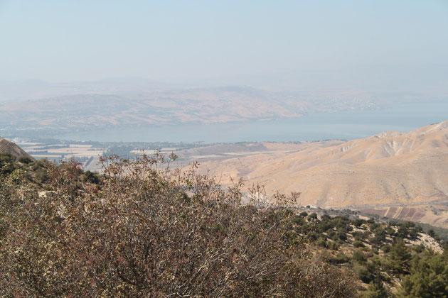 Im Hintergrund der See Genezareth oder auch Tiberiassee.