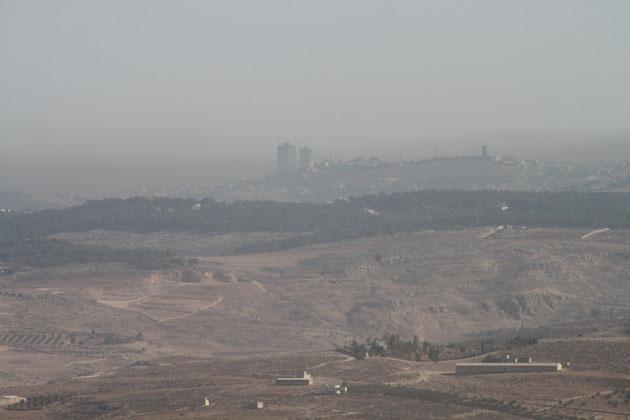 Blick vom Berg Nebo nach Amman-ca. 60 km.
