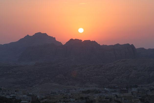 Sonnenuntergang in Petra.