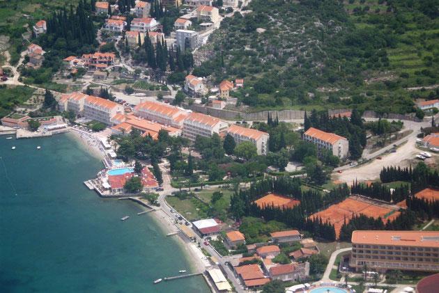 Halbinsel Cavtat kurz vor der Landung.